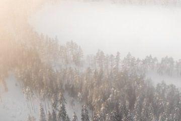 Noorse wildernis vanuit de lucht | Abstract natuurfoto zonsopkomst
