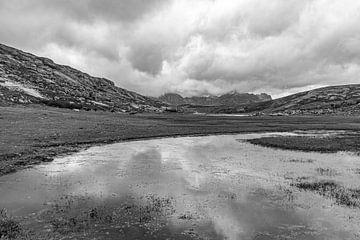 Weerspiegeling van de bergen in een meertje van Martijn Joosse
