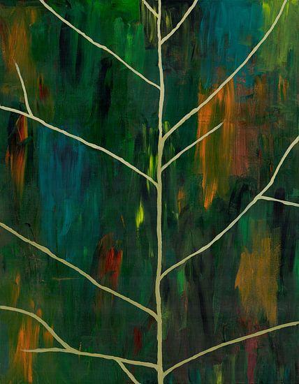 Abstract schilderwerk van bladnerven op papier
