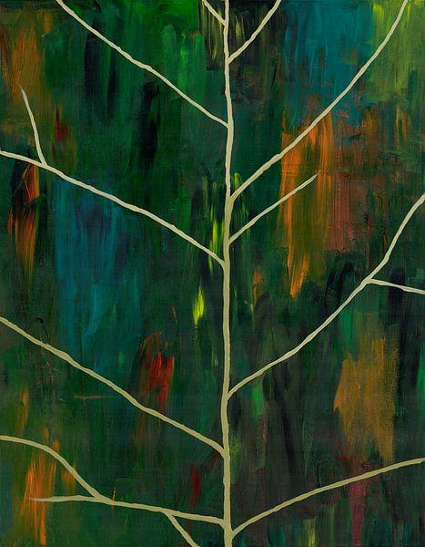 Abstract schilderwerk van bladnerven op papier van Danielle Roeleveld