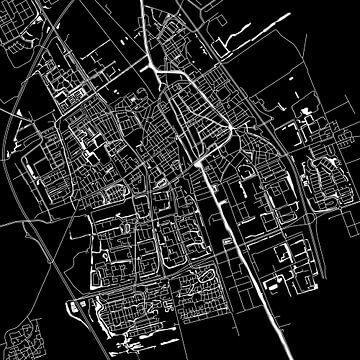Delft | Plan de la ville Noir | Carré sur Wereldkaarten.Shop