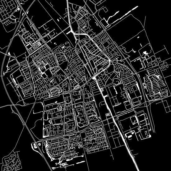 Delft Stadskaart   Zwart   Vierkant of als Wandcirkel