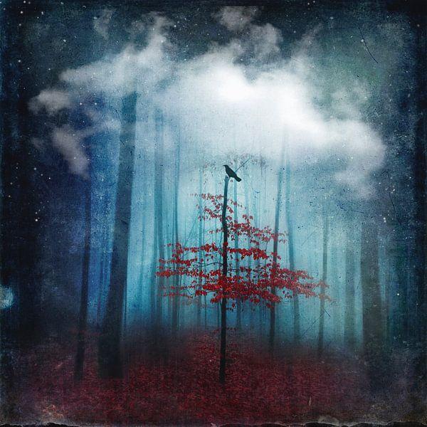 Dreamland - Boom en vogel in abstract bos van Dirk Wüstenhagen