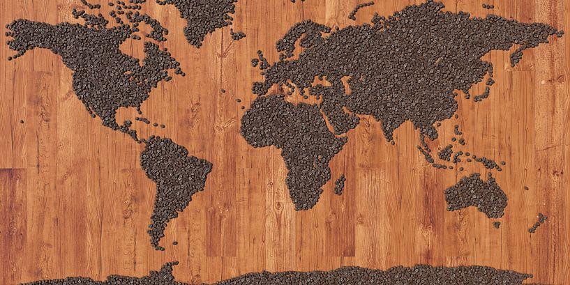 Wereldkaart koffiebonen van Frans Blok