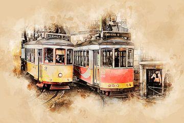 Historische tram in Lissabon van Peter Roder