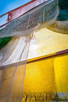 Zonlicht achter gebedsvlaggen, Tibet van Rietje Bulthuis