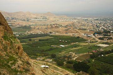 Une vue de la vallée fleurie depuis la montagne de la tentation à Jéricho, un endroit où, selon la l sur Michael Semenov