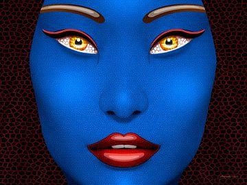 Blauw Gezicht van Ton van Hummel (Alias HUVANTO)