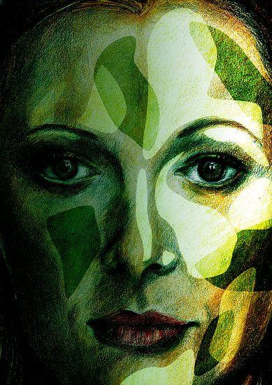 Gezicht in de groene natuur van Eva van den Hamsvoort