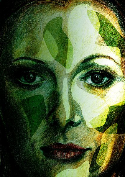 Gezicht in de groene natuur van ART Eva Maria