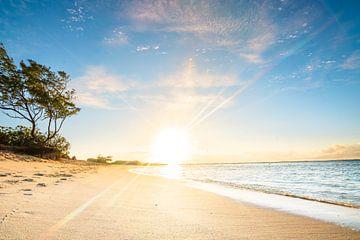 Zonsopgang op het strand van Mauritius van Fotos by Jan Wehnert