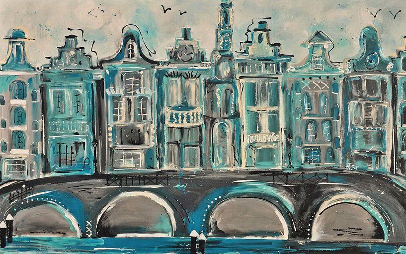 Amsterdam grachtengordel  aqua groen van Kunstenares Mir Mirthe Kolkman van der Klip