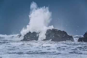 Ruig zeewater klapt op rots von Jo Pixel