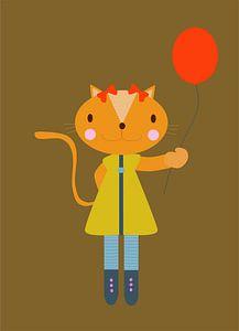 Poes met ballon von Ellis Busscher