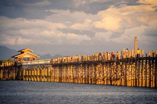 U Bein Bridge, vlakbij Amarapura, Myanmar