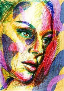 Veelkleurig dromend gezicht van Eva van den Hamsvoort