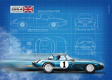 Jaguar E-Type Lichtgewicht Blauwdruk van Theodor Decker