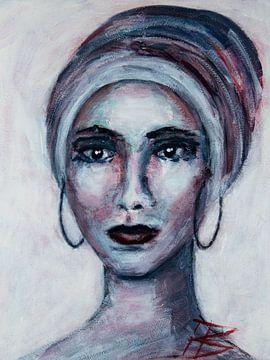 Portret vrouw met hoofddoek abstract van Bianca ter Riet