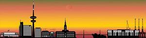 die skyline der deutschen stadt hamburg mit dem fernsehturm und der architektur