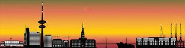 de skyline van de duiste stad hamburg met de televisietoren en architectuur van Compuinfoto .