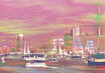 Hamburger Hafenskyline bei Sonnenuntergang van Peter Norden