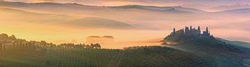 Panorama Zonsopkomst bij Belvedere in de Toscane, Italië van Henk Meijer Photography