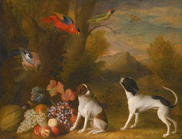 Landschaft mit exotischen Vögeln und zwei Hunden, Jakob Bogdány