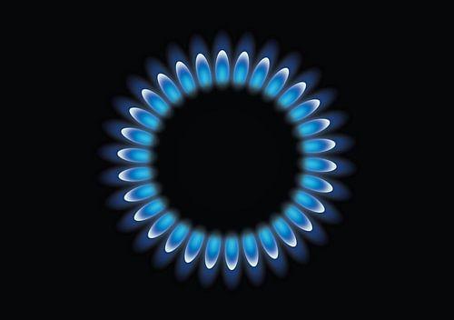 Gas brander met blauwe vlam, gasvlam