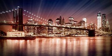 Manhattan NYC - De ondergaande zon van Melanie Viola