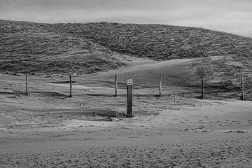 Strandpaal in de wind (Oostvoorne) van Sander de jong