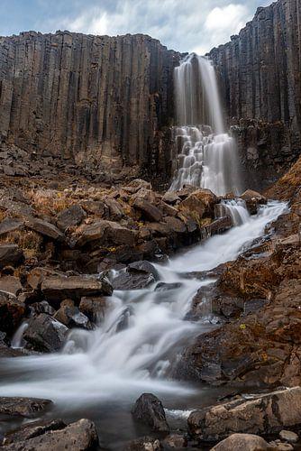 De Stuðlafoss waterval, omgeven door kolommen basalt van
