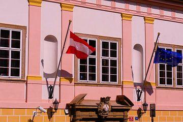 Praag - Vlaggen voor Ambassade van Wout van den Berg