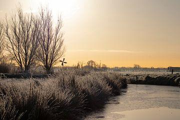 Winterliches Midden-Delfland im ersten Sonnenlicht von Bas Ronteltap