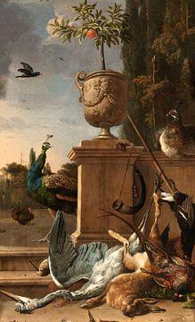 Jagdbeute auf einer Terrasse, Melchior d'Hondecoeter