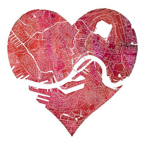 Rotterdam zit in mijn hart | Stadskaart van Rotterdam Noord en Zuid van - Wereldkaarten.Shop -