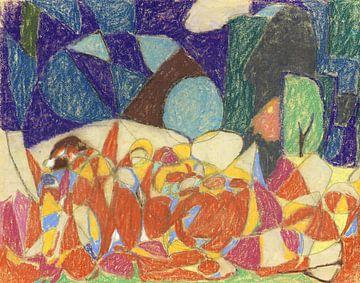 Figuren unter violetten und grünen Formen, ADOLF HÖLZEL, 1920