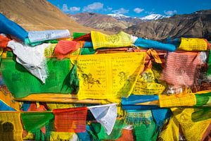 Kleurige gebedsvlaggen in de bergen van Tibet van