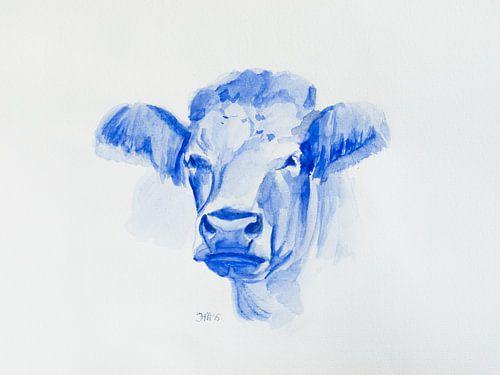 Aquarel portret Koe Delfts blauwstijl van Henriette Mosselman