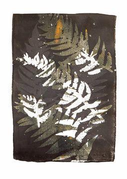 Botanische planten afdruk Varens zwart wit oker van Angela Peters