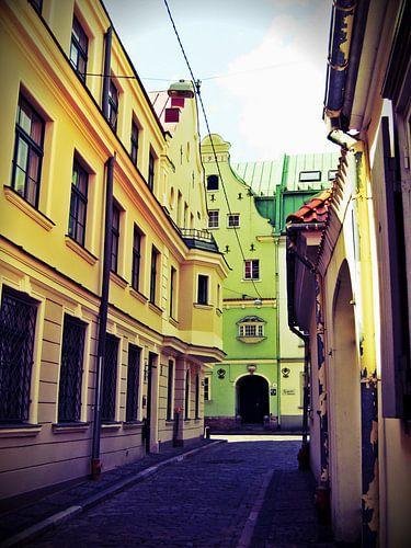 Straatje in Riga, Letland