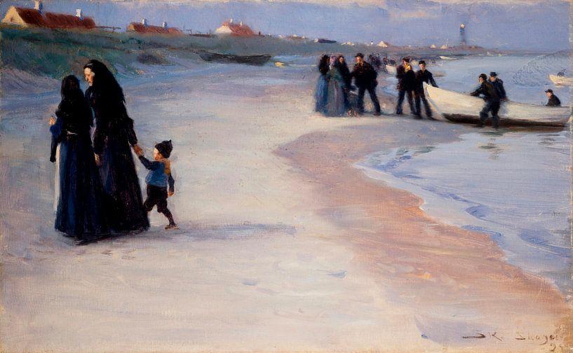 Ein weißes Boot am Strand. Leichter Sommerabend, Peder Severin Krøyer von Meesterlijcke Meesters