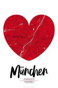 München – City Map Design Stadtplan Karte (Herz) von ViaMapia