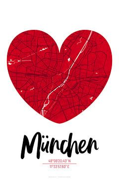 München - Stadsplattegrondontwerp Stadsplattegrond (hart)