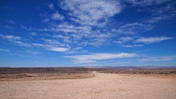 Alleen op de weg in de woenstijn van Namibië van Discover Dutch Nature