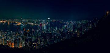 Hongkong, China bei Nacht (Panorama) von Michael Bollen