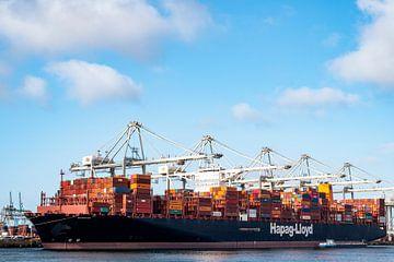 Containerschiff Barzan am Containerterminal im Hafen von Rotterdam von Sjoerd van der Wal