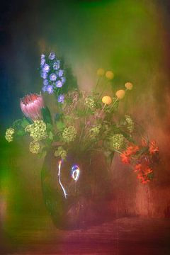 Modern stilleven met bloemen van Saskia Dingemans