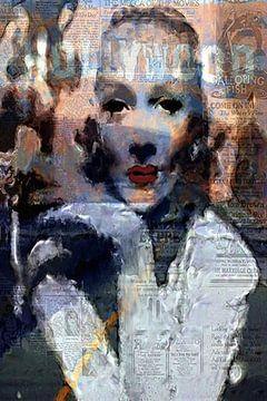 Marlene Dietrich Marlene Dietrich Pop Art van Leah Devora