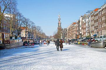 IJspret op de Prinsengracht in Amsterdam met de Westerkerk van Nisangha Masselink