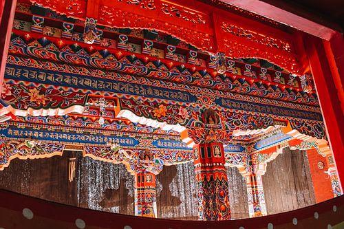 Tibetaanse muurschildering gedetailleerd